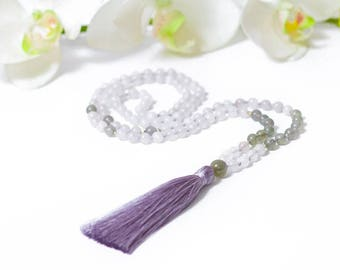 Universal Love Mala | Rose Quartz Labradorite Sterling Silver Mala | Women's 108 meditation mala | compassion, love, peace, wisdom