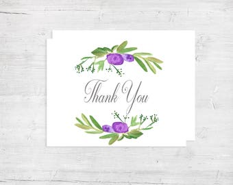 The Abigail Watercolor Thank You Card - Wedding Thank You Cards - Lavender Botanical Thank You Cards - Thank You Cards