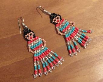 Handmade earrings, Mexican chaquira earrings.