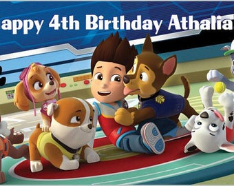 Custom Vinyl Paw Patrol Birthday Party Banner Decorations with Child's Name