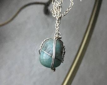 Wire Wrapped Aqua Stone