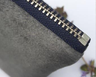 little zipper pouch gray soft RYLON