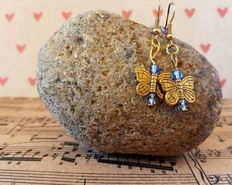 Butterfly earrings-gold and purple