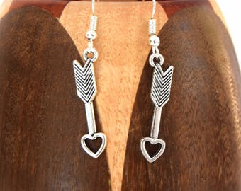Earrings silver metal heart arrows, clips arrows heart silver plated