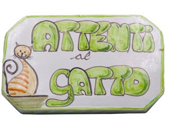Majolica tile painted Cats on conscious