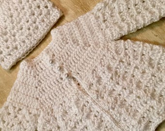Crochet baby sweater and hat set newborn to 3 months