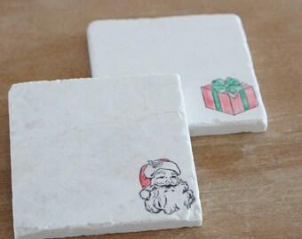 Christmas Decorations// Santa Coaster// Christmas Coasters // Marble Coasters // Christmas Gift // Santa Decor // Santa Coasters