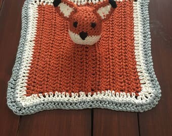 Fox Lovey Crochet, Baby Lovey Blanket, Security Blanket