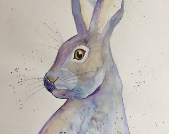 """Fine Art Print of my Original Watercolour Painting of a Hare """"Harriet"""""""