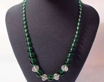 Vintage Graduated Green Glass and Crystal Necklace Gift For Her Mothers Day Valentines Day Birthday Present Gift