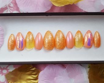 Miami Sunset Nail Set- Glitter nails, false nails, iridescent nails, fake nails