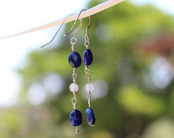 Lapis Lazuli & White Agate Drops