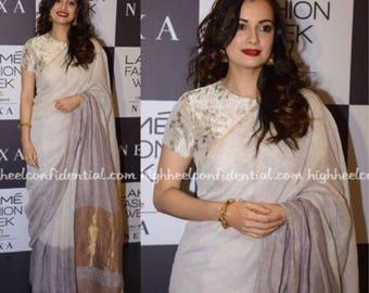 Anavila slate metallic linen sari.