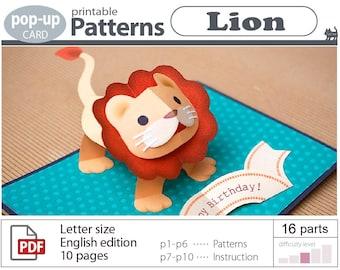 printable patterns_Lion_pop-up card_(digital download file)