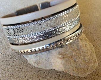Beige leather bracelet, silver imitation skin