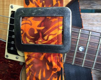Handmade guitar strap with wild orint in fire colors