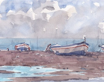 Marine Scenary in Cloudy Day with Boats Original Watecolor Painting