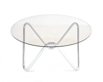 Mid century Coffee table Chrome And Glass..FREE SHIPPING