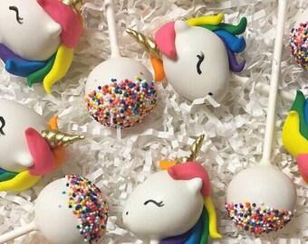 Unicorn Rainbow Sprinkles Cake Pops