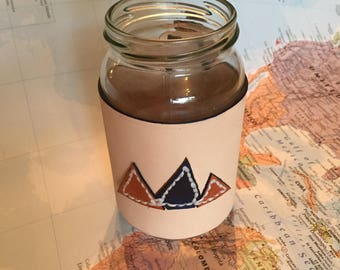 The 'Mountain Range' Mason Jar leather and paracord sleeve