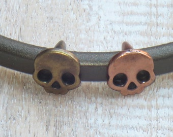 Regaliz Antique Copper or Brass Skull Head Spacer Bead, Spacer Bead, Slider Bead, Regaliz Spacer Bead