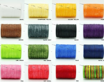 0.8MM x 0.4MM Flat Waxed Polyester Braided Cord Macrame Beading Jewelry Making Shoe Leather Craft String - 80yards/Spool