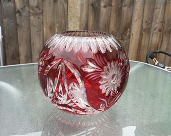 Bohemian Red Ruby glass Antique vase blown Cobalt overlay cut to clear crystal bowl  CZECH glass