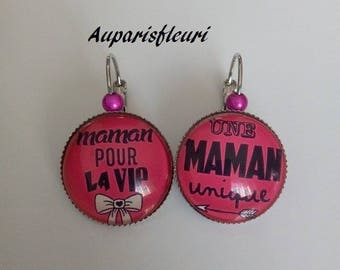 """pink MOM"" Silver earrings"