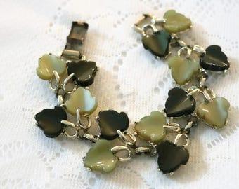 Vintage Coro Pegasus, 1950's Lucite, Thermoset green leaves, vine bracelet, chunky bracelet