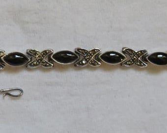 Onyx, Marcasite, and Sterling Silver Bracelet ~ Estate Jewelry