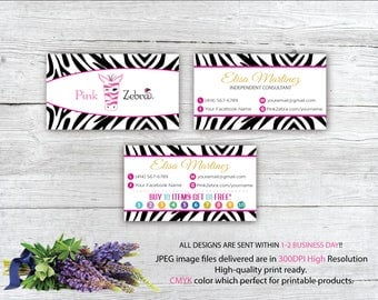 Pink Zebra Business Cards, Pink Zebra Buy 10 get 1 free, Printable Digital Printed, Personalized Cards, Fast Return Card PZ01