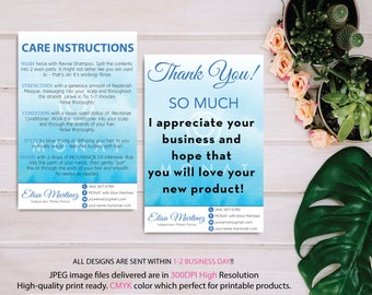 Monat Thank you card, Monat Care Instruction, Monat Care Card, Fast Free Personalization, Custom Monat Hair Care Card, Printable file MN06