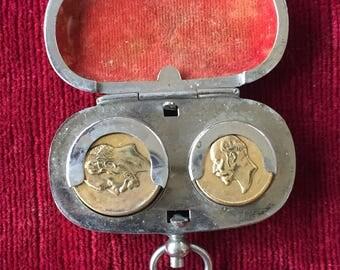 ancien porte monnaie, porte Louis d'or double monnaie.Louis gold double money