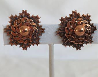 Southwestern Copper Earrings, Sun Earrings, Snowflake Earrings, Clip On, Vintage, 1940s