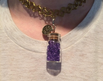 Zodiac and Birthstone Bottle Necklaces