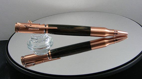 Handcrafted Bolt Action Ink Pen in Antique Copper and Digital Camo Acrylic