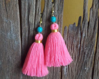 Neon pink tassel&Turquoise earrings,Pink earrings,Turquoise earrings,Stone earrings,Hand made earrings.