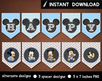 Instant Download - Baby Mickey Mouse Banner First Birthday 1st Party Chevron Polka Dots Pastel Gray Chalkboard Printable DIY - Digital File