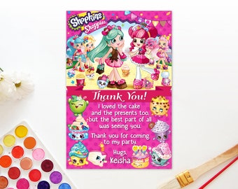Personalized Shopkins Shoppies Thank You Card Peppamint Donatina Birthday Party Pink Polka Dots Printable DIY - Digital File