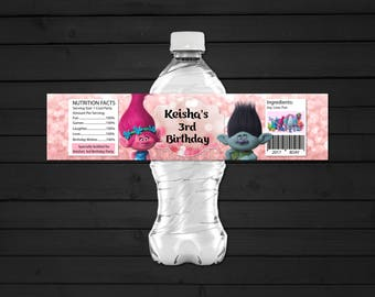 Personalized Trolls Poppy and Branch Water Bottle Label Printable Birthday Party Pink Bokeh Printable DIY - Digital File