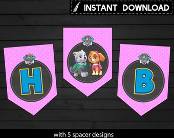 Instant Download - Paw Patrol Banner Pink Skye Pennant Happy Birthday Rocky Bunting Chase Everest Polka Dots Printable DIY - Digital File
