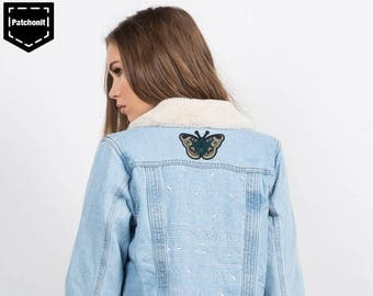 Iron on Patch Butterfly Embroidered Patch Butterfly Patch Large Back Patch Aesthetic Patch Punk Back Patch Metal Cool Iron on Patch for Girl