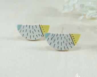 design earrings minimal modern porcelain ceramic perfect birthday gift