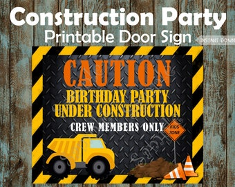 Construction Welcome Sign, Construction Birthday Sign, Construction Birthday Poster, Construction Party Sign, Construction Party Decorations