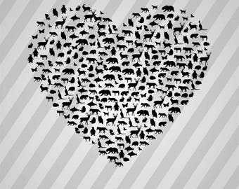 Animals Heart Silhouette - Svg Dxf Eps Silhouette Rld Rdworks Pdf Png Ai Files Digital Cut Vector File Svg File Cricut Laser Cut