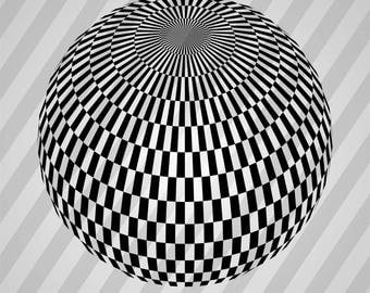 Disco Ball Silhouette - Svg Dxf Eps Silhouette Rld RDWorks Pdf Png AI Files Digital Cut Vector File Svg File Cricut Laser Cut