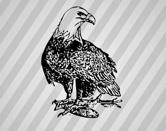 Bald Eagle Silhouette - Svg Dxf Eps Silhouette Rld RDWorks Pdf Png AI Files Digital Cut Vector File Svg File Cricut Laser Cut