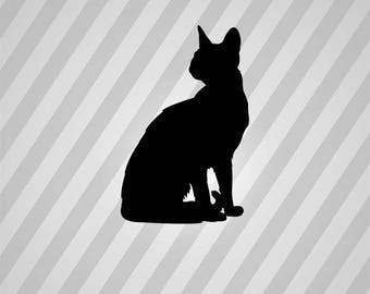 Cat Silhouette Sphynx Sitting - Svg Dxf Eps Silhouette Rld RDWorks Pdf Png AI Files Digital Cut Vector File Svg File Cricut Laser Cut