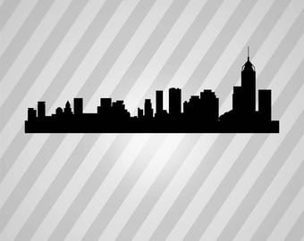 hong kong skyline Silhouette - Svg Dxf Eps Silhouette Rld RDWorks Pdf Png AI Files Digital Cut Vector File Svg File Cricut Laser Cut
