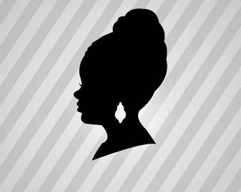 african american woman Silhouette - Svg Dxf Eps Silhouette Rld RDWorks Pdf Png AI Files Digital Cut Vector File Svg File Cricut Laser Cut